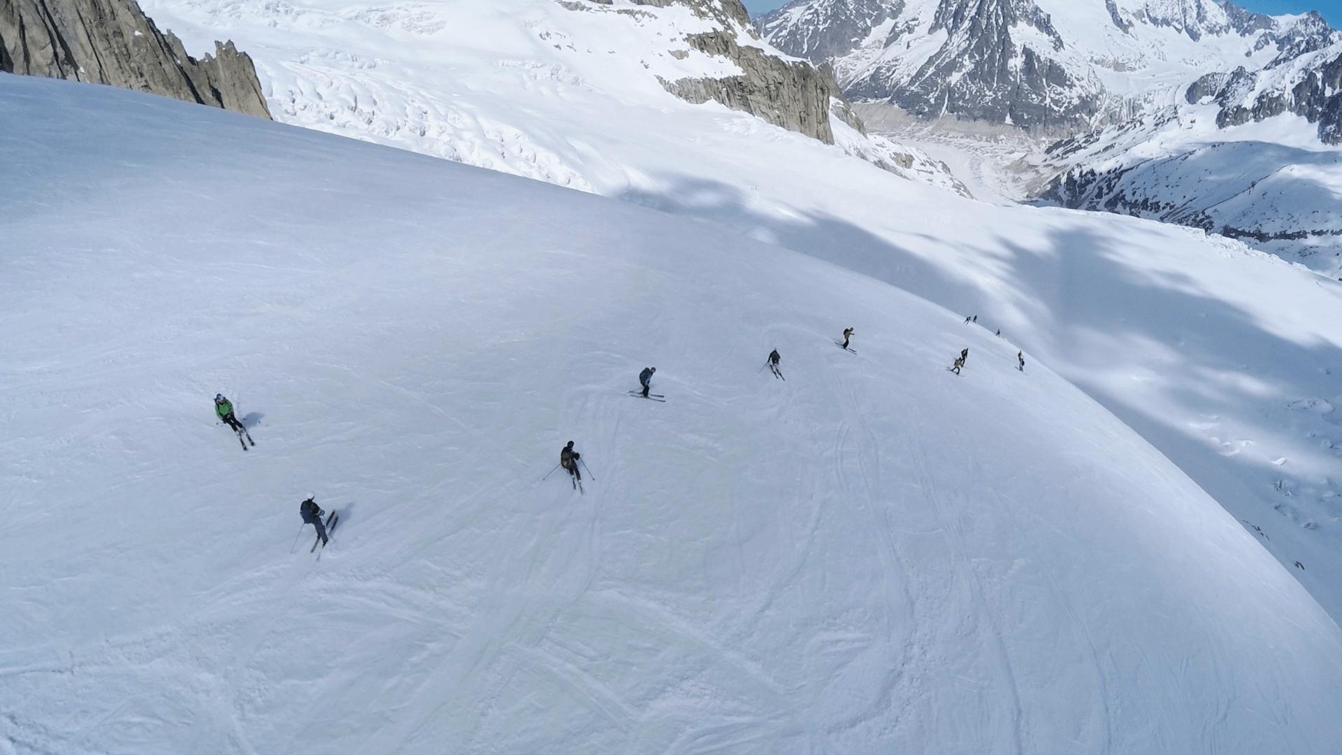 Sous le Rognon, ski hors-piste, mont-blanc, chamonix, vallée blanche