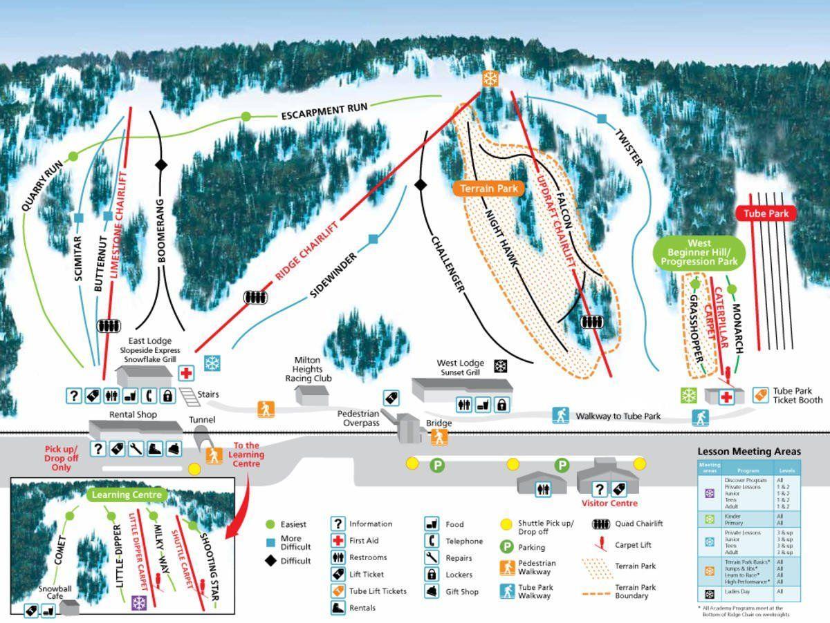 Plan des pistes de Glen Eden